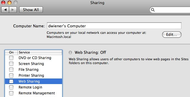 web sharing off